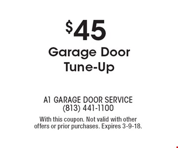 $45 Garage Door Tune-Up. With this coupon. Not valid with other offers or prior purchases. Expires 3-9-18.