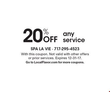 20% Off any service. With this coupon. Not valid with other offers or prior services. Expires 12-31-17. Go to LocalFlavor.com for more coupons.