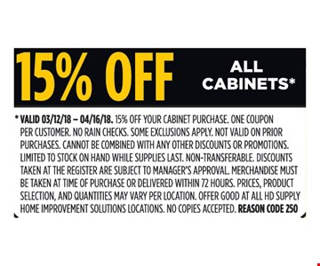 15% off all cabinets