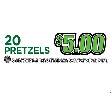 20 pretzels for $5