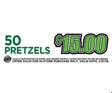 $15  for 50 pretzels