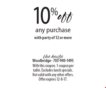 10% off any purchase with party of 12 or more. With this coupon. 1 coupon per table. Excludes lunch specials. Not valid with any other offers. Offer expires 12-8-17.