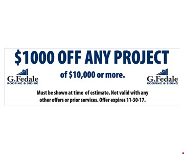 $1000 of any project of $10,000 or more.