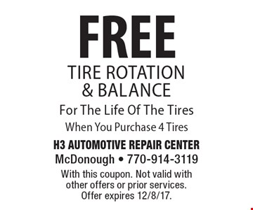 FREE Tire Rotation & Balance For The Life Of The Tires When You Purchase 4 Tires. With this coupon. Not valid with other offers or prior services. Offer expires 12/8/17.