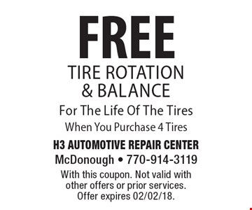 FREE Tire Rotation & Balance For The Life Of The Tires When You Purchase 4 Tires. With this coupon. Not valid with other offers or prior services. Offer expires 02/02/18.