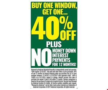 Buy one window, get one 40% off