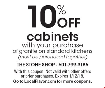 10% Off cabinets with your purchase of granite on standard kitchens (must be purchased together). With this coupon. Not valid with other offers or prior purchases. Expires 1/12/18. Go to LocalFlavor.com for more coupons.