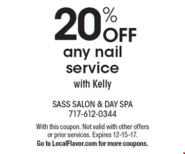 20% off any nail service with Kelly. With this coupon. Not valid with other offers or prior services. Expires 12-15-17. Go to LocalFlavor.com for more coupons.