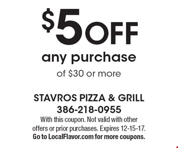 $5 OFF any purchase of $30 or more. With this coupon. Not valid with other offers or prior purchases. Expires 12-15-17.Go to LocalFlavor.com for more coupons.