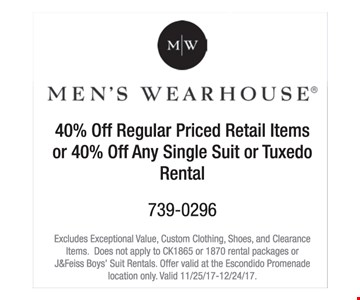 40% off regular priced retail items or 40% off any single suit or tuxedo rental