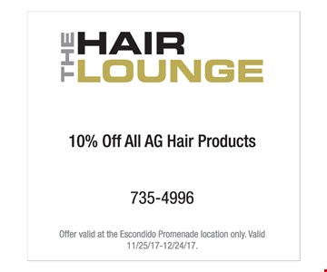 10% off all AG hair products