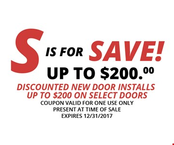 Save up to $200 on new door installs