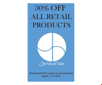 30% Off All Retail Products