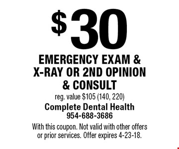 $30 emergency exam & x-ray or 2nd opinion & consult, reg. value $105 (140, 220). With this coupon. Not valid with other offers or prior services. Offer expires 4-23-18.