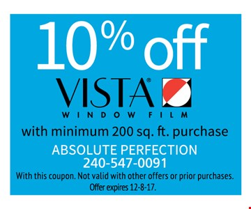 10% off Vista window film