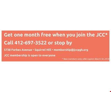 Get one month free when you join the JCC