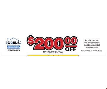 $200 off any job over $2,500