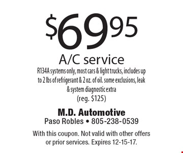 $69.95 A/C serviceR134A systems only, most cars & light trucks, includes up to 2 lbs of refrigerant & 2 oz. of oil. some exclusions, leak & system diagnostic extra(reg. $125). With this coupon. Not valid with other offers or prior services. Expires 12-15-17.