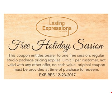 FREE Holiday Session - this coupon entitles bearer to one Free session , regular studio package pricing applies