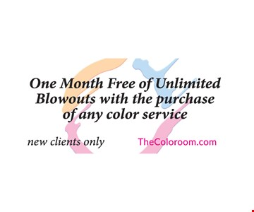 One Month Free of Unlimited Blowouts with the purchase of any color service. New clients only.