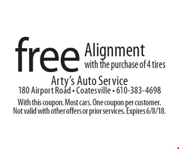 free Alignment with the purchase of 4 tires. With this coupon. Most cars. One coupon per customer. Not valid with other offers or prior services. Expires 6/8/18.
