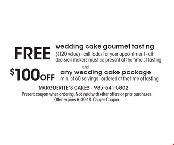 Free wedding cake gourmet tasting 