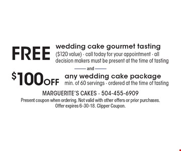 Free wedding cake gourmet tasting. ($120 value). Call today for your appointment. All decision makers must be present at the time of tasting. or $100 off any wedding cake package. Min. of 60 servings. Ordered at the time of tasting. Present coupon when ordering. Not valid with other offers or prior purchases. Offer expires 6-30-18. Clipper Coupon.