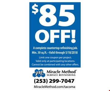 $85 off a complete countertop refinishing job