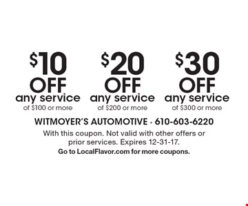 $10 off any service of $100 or more OR $20 off any service of $200 or more OR $30 off any service of $300 or more. With this coupon. Not valid with other offers or prior services. Expires 12-31-17. Go to LocalFlavor.com for more coupons.