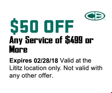 $50 off any  service of $499 or more.