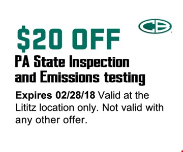 $20 off PA state inspection and emissions testing