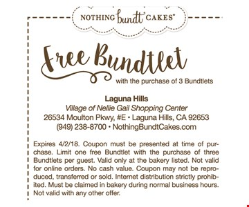 Free Bundtlet with the purchase of 3 bundtlet