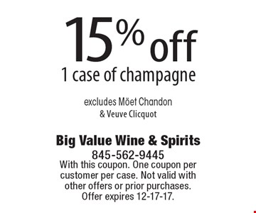 15% off 1 case of champagne excludes Moet Chandon & Veuve Clicquot. With this coupon. One coupon per customer per case. Not valid with other offers or prior purchases. Offer expires 12-21-17.