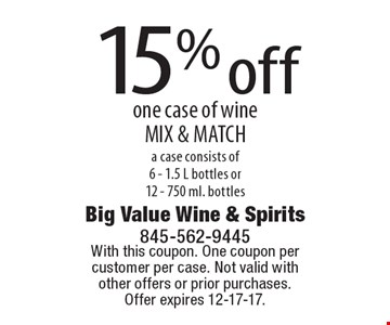 15% off one case of wine MIX & MATCH. A case consists of6 - 1.5 L bottles or 12 - 750 ml. bottles. With this coupon. One coupon per customer per case. Not valid with other offers or prior purchases. Offer expires 12-17-17.