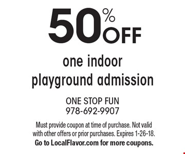50% off one indoor playground admission. Must provide coupon at time of purchase. Not valid with other offers or prior purchases. Expires 1-26-18. Go to LocalFlavor.com for more coupons.