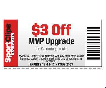 $3 Off MVP Upgrade for returning clients