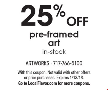 25% OFF pre-framed art in-stock. With this coupon. Not valid with other offers or prior purchases. Expires 1/13/18.Go to LocalFlavor.com for more coupons.