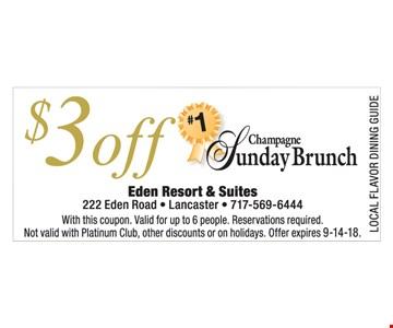 $3 off Sunday brunch