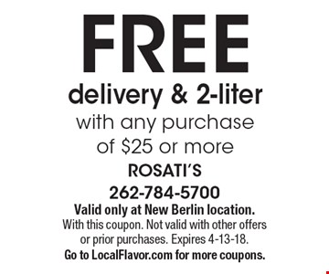 FREE delivery & 2-liter with any purchase of $25 or more. Valid only at New Berlin location.With this coupon. Not valid with other offers or prior purchases. Expires 4-13-18. Go to LocalFlavor.com for more coupons.