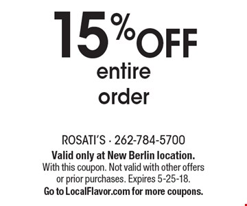 15%OFF entire order. Valid only at New Berlin location. With this coupon. Not valid with other offers or prior purchases. Expires 5-25-18. Go to LocalFlavor.com for more coupons.
