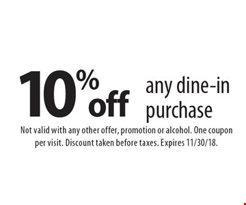 10% off any dine-in purchase. Not valid with any other offer, promotion or alcohol. One coupon per visit. Discount taken before taxes. Expires 11/30/18.