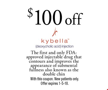 $100 off Kybella. The first and only FDA-approved injectable drug that contours and improves the appearance of submental fullness also known as the double chin. With this coupon. New patients only. Offer expires 1-5-18.