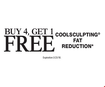 Buy 4, Get 1 Free Coolsculpting FatReduction*. Offers cannot be combined with any other coupons, specials or promotions or prior purchases, carry no cash value. Expiration 3/23/18.