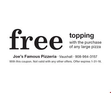 Free topping with the purchase of any large pizza. With this coupon. Not valid with any other offers. Offer expires 1-31-18.