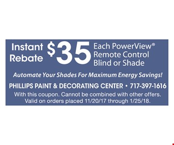 $35 Each PowerView Remote Control Blind or Shade