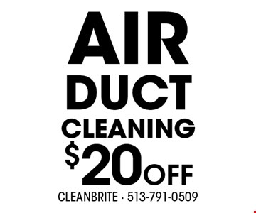 $20 OFF AIR DUCT CLEANING.