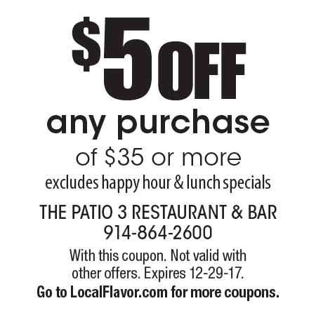 THE PATIO 3 RESTAURANT U0026 BAR: $5 OFF Any Purchase Of $35 Or More.