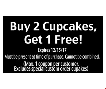 Buy 2 cupcakes, get 1 cupcake free