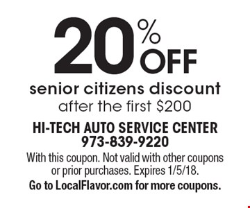 20% OFF senior citizens discount after the first $200. With this coupon. Not valid with other coupons or prior purchases. Expires 1/5/18. Go to LocalFlavor.com for more coupons.