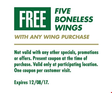 free five boneless wings with any wing purchase